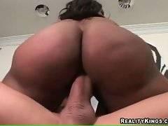 Big bottomed ebony sluts take turns riding massive white cock.
