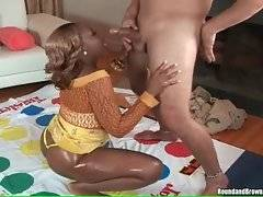 Big bottomed black slutie skillfully works her mouth at stiff dick.