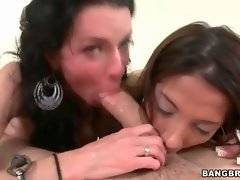 Evilyn Fierce and Veronica Avluv are sucking Chris Strokes` shaft.