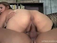 Big bottomed breasted cutie is jumping on lover`s stiff cock.