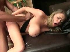Beautiful blonde Katie Kox tastes her pussy from lover`s huge brown dick.