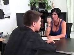 Guy is catched by his lady boss drinking on work.