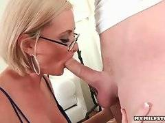 This pretty dool is doing deep blowjob in the room