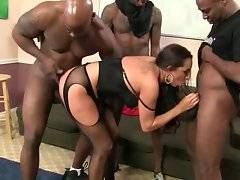 Sexy Kaylynn warms four big black guys up with skillful oral.