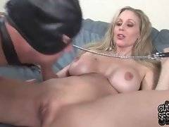 Nasty Julia Ann lets her cuckold lick off black men cum from her tits and pussy.