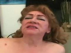 This nasty granny rubs her pussy starving for hard dick.