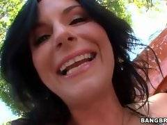 Hot milf is getting more and more turned on while washing the car.