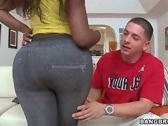 White stud Alex gets turned on in a minute when sees Diamond Mason`s big ass.