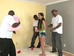 Three black buddies are teasing brunette cutie and then free their dicks for her.