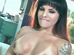 Amazing tranny gladly tastes lover`s cum after hot fucking.