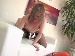 Pretty tranny in black stockings is jumping on friend`s dong.