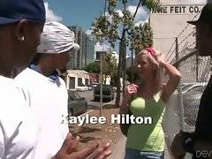Cute blonde Kaylee Hilton got off on wrong bus stop and needs help to find a right way.