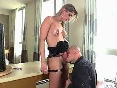 Sexy tranny Nicole Bahls gets her fat cock sucked by her friend.