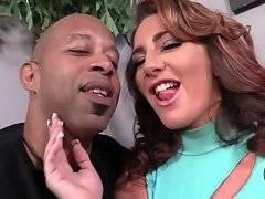 Black cock slut Savannah Fox lets Shane Diesel worship her nice feet.