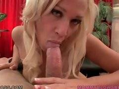 This awesome blond milf knows how to treat erect dick properly.