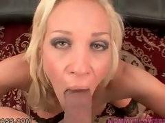 Pretty mature blonde gives her friend awesome blowjob.