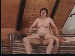 Big boobed old tart is jumping on lover`s stiff cock.