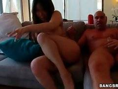 Hungry dude thoroughly attacks curvaceous Asian chick.