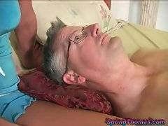Sexy black cock slut Spring Thomas has white cuckold today with her.