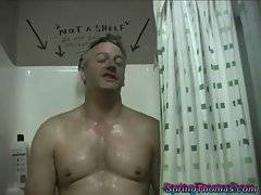 Spring Thomas watches mature cuckold taking cold shower and gives him ice cubes.