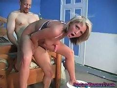 Attractive slender blonde Spring Thomas has fun with black stud.