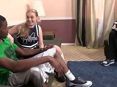 Naughty white girl knows how to treat tough black guy properly.