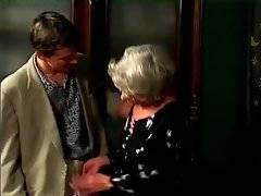 Nasty granny Mrs Jones readily starts sucking tough guy`s juicy dick.