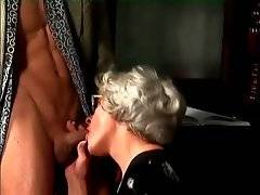 Nasty granny Mrs Jones readily starts sucking tough guy`s juicy dick.