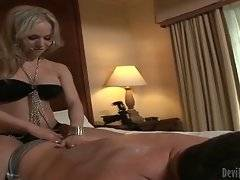 Sexy t-girl is sensually massaging partner`s relief body.