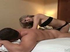 Hot shaped transsexual babe skillfully warms her love up.