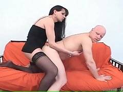 Bald man likes to feel tranny`s dong moving inside his ass.