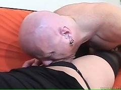 Attractive she-male pleasures her partner with good anal massage.