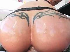 Slutty Jewels Jade is passionately jumping on big dick with her anus.