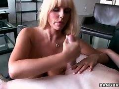 Pretty milf with huge boobs skillfully warms her lover up.