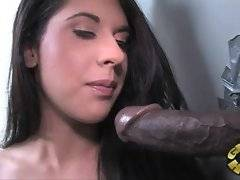 Sexy brunette eagers to get her pussy stretched with big black cock.