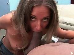Pretty Jayma Reid works her mouth at two massive black cocks.