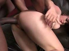 Tough black dude deeply pounds hot looking slender white slut.