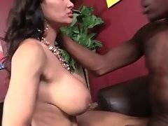 Nasty big boobed lady loves to feel big black cock inside her asshole.