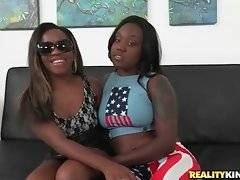 Naughty chocolate babes demonstrate their delicious big asses.