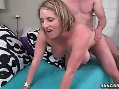 Turned on tough guy deeply drills attractive busty blonde.