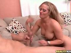 Holly Heart warms Bruno Dickenz up with awesome blow and breast jobs.