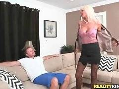 Lovely lady Kasey Storm readily fleshes her great massive boobs.