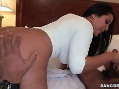 Big bottomed Latina sits down on partner`s shaft and jumps.