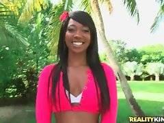 Sexy ebony Skyler Nicole readily demonstrates her yummy booty.