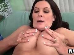 Horny tough young stud tongues step mom`s craving pussy.