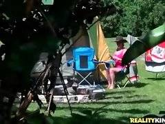 Pretty blonde is alone on camping because of her workaholic husband.