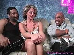 Cute blonde Spring Thomas is always ready to fuck with black guys.