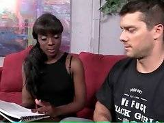 Sexy teacher tries to teach English tough Italian guy. It`s very difficult for him, especially when his teacher is a very lovely ebony babe.