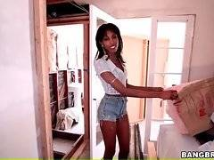 Dude shows hot looking skinny ebony babe the house, he needs to get decorated. Pretty black chick seems to be don`t mind to be filmed.