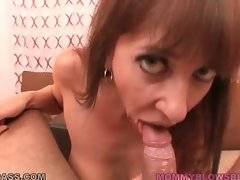 Craving mature cutie Alia Janine wraps her lips around thick cock.